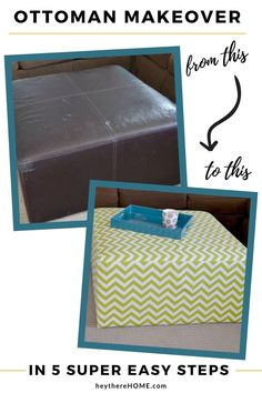Take an old ottoman and give it new life with a simple removable slip cover! #reuholster #ottoman #slipcover #sew Diy Ottoman, Ottoman Cover, Ottoman Slipcover, Slipcovers, Diy Furniture Projects, Cool Diy Projects, Sewing Projects, Craft Projects, Diy Pins