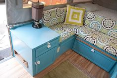 Maria and John's Remodeled Pop-Up Camper. Contemplating the table top idea.