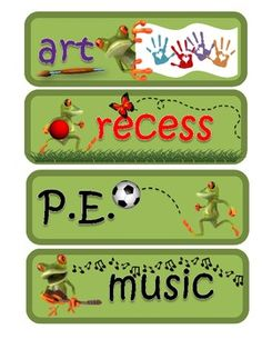 Frog Themed Subject Pocket Chart Schedule Signs