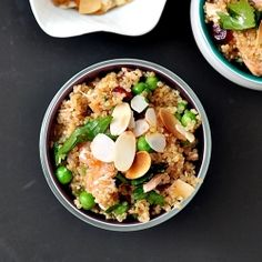 Smoked Salmon Quinoa Pilaf with Peas, Cranberries & Toasted Almonds