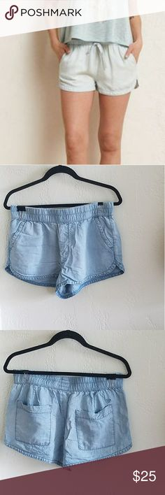 American Eagle Chambray Track Shorts These don't have a drawstring, just an elastic waistband. Cut like track shorts, but in wear-with-everything chambray. Use these as a cover up, too keep cool at a festival or wear them with a cropped T and sneakers. 100% lyocell. Brand new without tags. American Eagle Outfitters Shorts