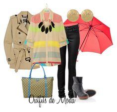 Días de Lluvia by outfits-de-moda2 on Polyvore featuring moda, Alice + Olivia, Burberry, SOREL, Gucci and Miso