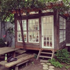 paint studio, art studios, dream, backyard art, old windows, backyard studio, hous, painting studio, garden