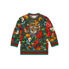 Gucci Floral Print Embroidered Sweatshirt ($1,500) ❤ liked on Polyvore featuring tops, hoodies, sweatshirts, flower print tops, sequin top, embroidered sweatshirts, print top and embroidered top