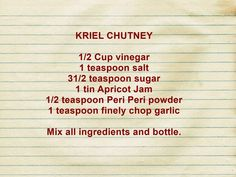 South African Recipes, Chutney, Kos, Afrikaans Quotes, Sauces, Dips, Chutneys, Gravy