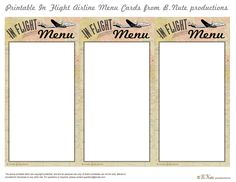 Free Printable In-Flight Menu Cards - Airline Ticket Party
