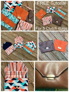 FREE sewing pattern - 5 different simple clutch bags Handbag Patterns, Bag Patterns To Sew, Sewing Patterns Free, Free Sewing, Sewing Tutorials, Sewing Crafts, Sewing Projects, Sewing Ideas, Diy Wallet No Sew