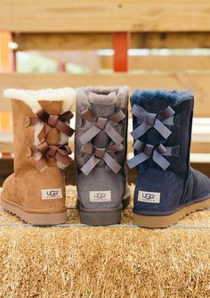UGG Boots Outfit UGG Australia Classic Fashion trends Haute couture Style tips Celebrity style Fashion designers Casual Outfits Street Styles Women's fashion Runway fashion Ugg Boots Outfit, Bow Boots, Cute Boots, Ugg Shoes, Cute Uggs, Ugg Boots With Bows, Ankle Boots, Ugg Australia, Uggs For Cheap
