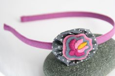 covered metal headband for girls or women - fabric flower - hand embroidered - hungarian matyo embroidery - pink, grey, purple, yellow