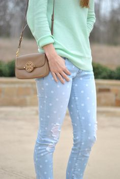 Love these destructed jeans.  It throws off the saccharine polka dots a bit