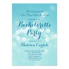 Modern Aqua Blue Bachelorette Party Invitations