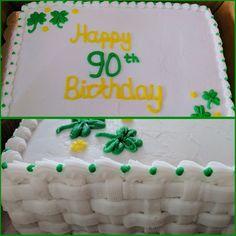 90th birthday cake with buttercream shamrocks and buttercream basket weave