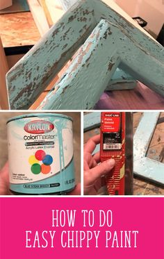 How To Do Easy Chippy Paint (with video!) – Debbie Does Design Crackle Painting, Faux Painting, Using Acrylic Paint, Distressed Painting, Diy Painting, Paint For Wood, Distressing Painted Wood, Chalk Paint Projects, Chalk Paint Furniture