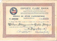 Brazil, Esporte Club Bahia (Salvador), Titulo de Socio Patrimonial, 1962