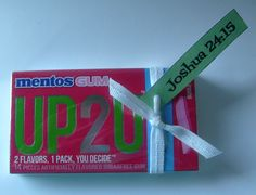 Favor Idea for you on my blog using UP2U gum.  Pick up tag at bottom of UP2U Devotional page.  #womensdevotional #candyfavor