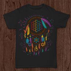0fa8832346f6 Sacred Geometry Dreamcatcher on ONNO hemp t-shirt http://www.flightinspired