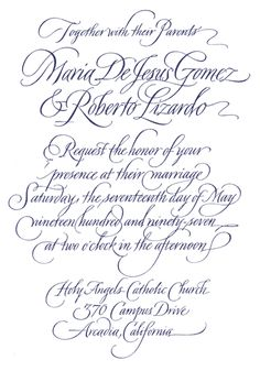John Stevens Calligraphy -- invitation