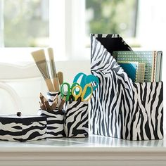 Zebra Desk Accessories. Depending on my room theme...but I like the desk accessories. They don't have to be zebra b/c I don't know what my dorm theme will be.