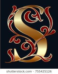 Capital Letter S Large Letter Illuminated Stok Vektör (Telifsiz) 755425126 Alphabet Wallpaper, Name Wallpaper, Large Letters, Gold Letters, Monogram Letters, Flower Graphic Design, Name Decorations, 480x800 Wallpaper, Stylish Letters