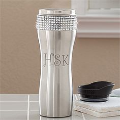 OMG - I HAVE to have this! It's the Glitz and Glam Personalized Stainless Steel Tumbler with Initials from PMall! The rhinestones give it that adorable, girly, bling factor I love! This would be so cute to have for the carpool or work! #Glitz #Glam #Coffee #Bling