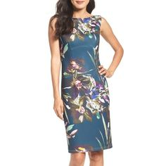 Women's Ellen Tracy Scuba Sheath Dress (€74) ❤ liked on Polyvore featuring dresses, blue multi, ellen tracy dresses, ellen tracy, blossom dress, knit dress and sheath dress