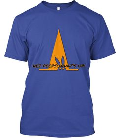 Hei Peeps! What's Up! Deep Royal T-Shirt Front