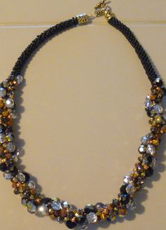 Beaded Kumihimo cluster necklace  black gold by TheBeckoningCat, $275.00