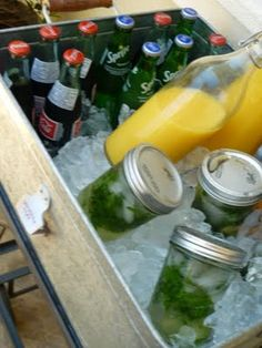 Best. Idea. EVER! Mason Jar Mojitos: Make cocktail ahead of time in the jars. Guests grab one, shake it, and drink!