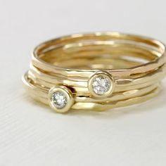 Diamond Stack Rings Set  14k Yellow Gold by ScarlettJewelry..... Gorgeous, Love it, Need it!