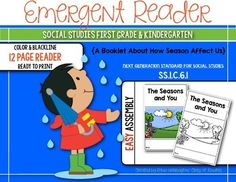Seasons and You! Emergent Reader for First Grade and Kindergarten! 12 pages; includes blackline and color versions!