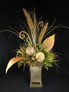 Tall Grass and Natural Pod Balls Floral Arrangement Permanent Botanical
