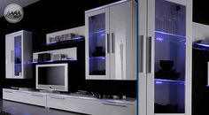 Nowoczesne meble z oświetleniem LED. #nowoczesnemeble #mebledosalonu #meble #minimalistycznemeble #mebleniemieckie #dom #aranzacjedom #aranzacje