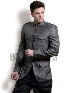 Blackish Grey Hunting Coat Item code : SJB5010  http://www.bharatplaza.com/blackish-grey-hunting-coat.html