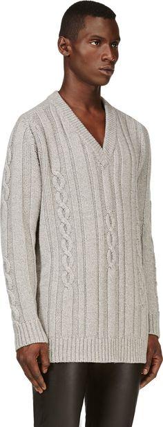 Maison Martin Margiela: Grey Oversize Cable Knit Sweater