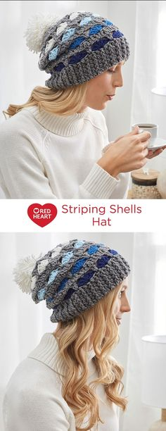 Striping Shells Hat Free Crochet Pattern in Red Heart Yarns -- This pompom-topped hat makes crocheting an ombré effect with your favorite color family a breeze!