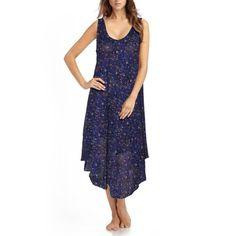 Dark Blue Floral Free Size Georgette Gown