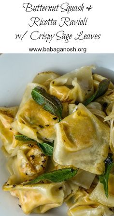 Butternut Squash & Ricotta Ravioli made the easy way - with wonton wrappers! Tossed in garlic olive oil and topped with crispy sage leaves. Delicious and sure to impress, and super simple!