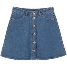 Monki Mini A-line denim skirt ($31) ❤ liked on Polyvore featuring skirts, mini skirts, bottoms, clothing - skirts, faldas, blue, denim skirt, flared mini skirt, a line flared skirt and blue denim skirt