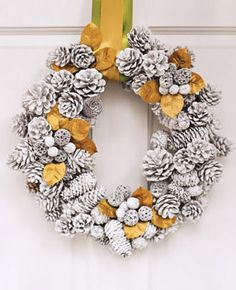 Winter wonderland wreath - pine cones, ribbons, spray paint
