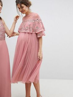 Maya Maternity midi dress with sequin cape overlay Pregnancy Announcement, Pregnancy Early Pregnant Bridesmaid, Maternity Bridesmaid Dresses, Maternity Midi Dress, Stylish Maternity, Maternity Fashion, Pregnant Dresses For Wedding, Sequin Cape, Pregnancy Outfits, Pregnancy Info