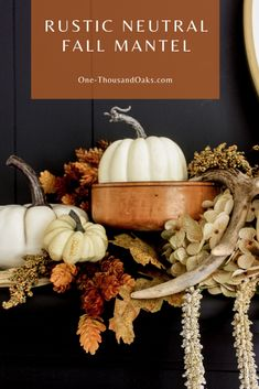 Rustic Neutral Fall Mantel in the Dining Room - One Thousand Oaks