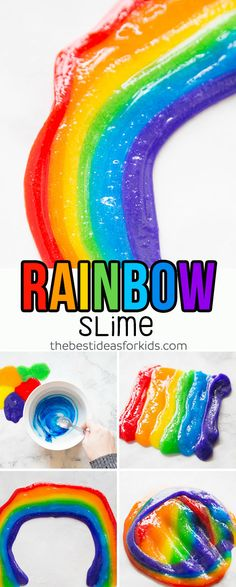 Learn how to make this colorful Rainbow Slime Recipe! Included is a rainbow slime video. You can make this rainbow slime recipe for kids and even add some glitter! No borax slime recipe. #slime #slimerecipe #rainbowcrafts #rainbowactivity via @bestideaskids