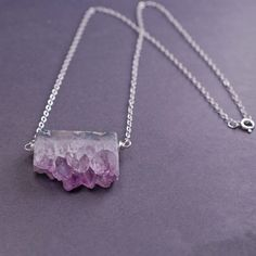 Amethyst Necklace Amethyst Rough Cut Jewelry by georgiedesigns