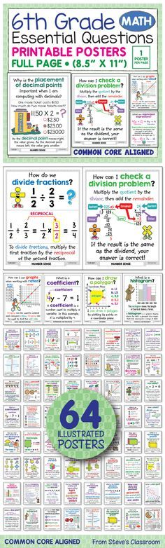 *** I updated these posters and put them on sale to celebrate. *** I love these posters for two reasons! The illustrations help students understand sixth grade math concepts like ratios and proportions, number sense, fractions, expressions and Math Strategies, Math Resources, Math Activities, Math Teacher, Math Classroom, Teaching Math, Classroom Posters, Math For Kids, Fun Math