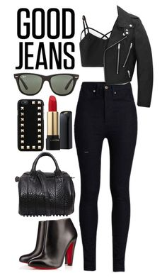 """High-waisted jeans"" by xxgurlyxx ❤ liked on Polyvore"
