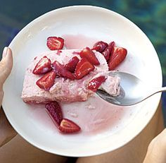 """Strawberries and Cream Semifreddo--Semifreddo means """"half-cold"""" in Italian and refers to a chilled or half-frozen dessert containing whipped cream or meringue. This creamy version is like a frozen strawberry mousse. Via FineCooking"""