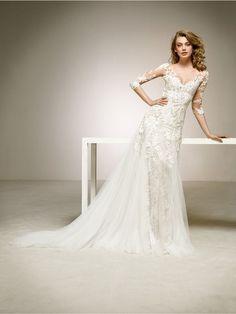 two-fabric wedding dress