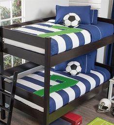 Soccer Bunkbed Comforter Set - Vianney Home Decor Soccer Bedroom, Football Bedroom, Boys Bedroom Decor, Condominium Interior, Bed Comforter Sets, Boys Room Design, Boy Room, Bed Spreads, Bunk Beds