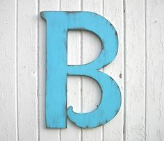 Wooden Letters Distressed 24 B Large Wedding Guest Book Blue Wall Decor Gift Signage