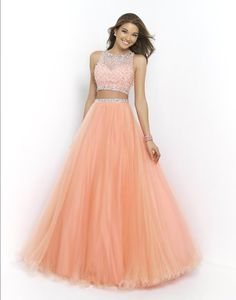 prom dresses Rock the latest fashion trend in this sassy two piece ball gown new style fashion prom gowns